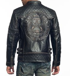 Jackets For Stylish Men. Jackets are a crucial part of each and every man's set of clothes. Men require jackets for assorted activities as well as some varying weather conditions. Men's Leather Jacket, Leather Men, Leather Jackets, Affliction Clothing, Revival Clothing, Cool Jackets, Men's Jackets, Badass Style, Jacket Style