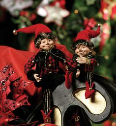 Christmas Elves in Red Black and White Christmas Fairy, Black Christmas, Christmas Items, Santa Christmas, Beautiful Christmas, Vintage Christmas, Xmas, Disney Christmas Decorations, Holiday Decor