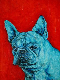 Blue French Bulldog signed dog art print. This Print in on heavyweight Matte paper. The Image has an approximate 1/4 inch white border around it with a printed title on the bottom left below the image as shown in the product sample image.