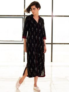 Buy Black Button Down Ikat Handloom Cotton Dress Apparel Tops & Dresses Online at Jaypore.com