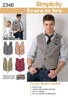 learn to sew collection. men's vest with trim variations with adjustable back sizing strap.  simple easy to follow instructions for beginners.