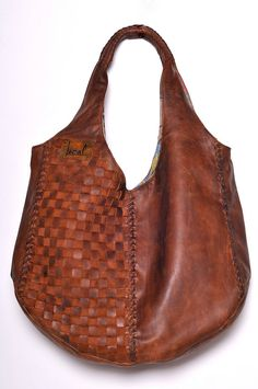 BELLA. Oversize woven shoulder bag / leather tote bag. Available in different leather colors.. $210.00, via Etsy.
