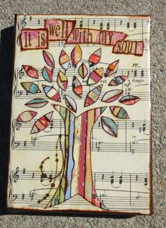 It is well with my soul--Mixed Media Collage Art of a Colorful Tree
