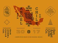 San Angel Chile Co. Brand II designed by Bryan Butler. Connect with them on Dribbble; Graphic Design Typography, Graphic Design Illustration, Logos, Logo Branding, Arte Latina, Badge Design, Design Graphique, Vintage Branding, Grafik Design