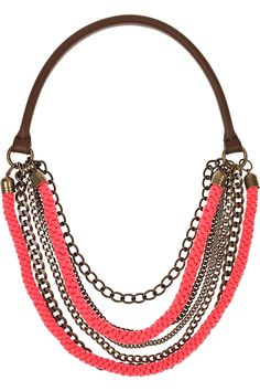 Marni Necklace Inspiration - old purse handle or wrapping cord around D-rings...attach as many chains or cords as you wish...think about broken vintage pieces or attaching brooch to one D-ring side