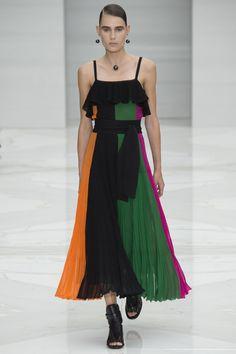Salvatore Ferragamo | Spring 2016 Ready-to-Wear | 11 Multicolored striped belted strappy midi dress