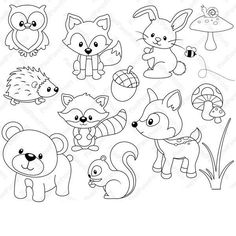 Woodland Animals – Digital stamps – Clipart Woodland Animals – Digital stamps – Clipart,Ausmalbild Are you looking for cute high quality images to use in your projects? You've come to the right place! Woodland Creatures, Woodland Animals, Farm Animals, Arctic Animals, Woodland Forest, Jungle Animals, Wild Animals, Sea Creatures, Tilda Toy