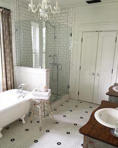 BlessedMommaToBabyGirls on Instagram | Farmhouse Bathroom