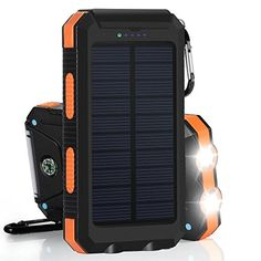 Portable Solar Power Charger Tingso Emergency Dual USB Waterproof Solar Battery Bank Charger Power Bank Solar Panel Charger with Compass and Flashlight for iPhone iPad Samsung and Android Cellphones (Orange) - Vbazzar Solar Panel Charger, Solar Battery Charger, External Battery Charger, Portable Solar Power, Portable Solar Panels, Portable Charger, Portable Battery, Galaxy A, Samsung Galaxy