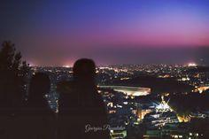 VIEW the Panathenaic Stadium FROM Lycabettus.....ATHENS.....GREECE..... After sunset.....