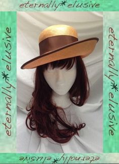Vintage Brimmed Band Bow Tilt Brim Straw Sun Hat Henley Bonnet Women Ladies 21  09.30