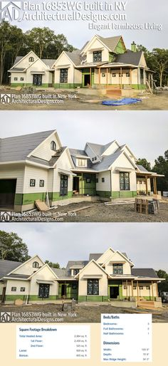 Architectural Designs Farmhouse Plan 16853WG under construction by our client in New York! Ready when you are. Where do YOU want to build? Specs-at-a-glance 3 beds 2.5 baths 2,900+ sq. ft. PLUS 600+ sq. ft. bonus room over garage