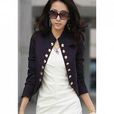 $7.15 Elegant Stand Collar Solid Color Double-Breasted Long Puff Sleeves Jacket For Women