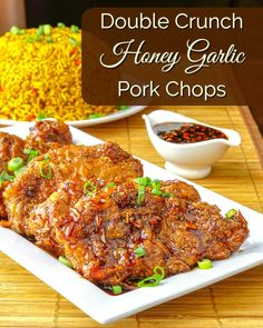 Double Crunch Honey Garlic Pork Chops - juicy on the inside but super crunchy on the outside, these double dipped pork chops get dipped in an easy, flavorful Honey Garlic Sauce. Rock Recipes, Pork Chop Recipes, Meat Recipes, Cooking Recipes, Healthy Recipes, Recipies, Vegetarian Recipes, Dinner Recipes, Honey Garlic Pork Chops