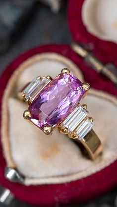 18K Yellow Gold Pink Tourmaline Ring w/ Diamond Accents Sku RD18806 Diamond Shapes, Diamond Cuts, Pink Tourmaline Ring, Baguette Diamond, Cocktail Rings, Druzy Ring, Diamond Jewelry, Bling, Wedding Rings