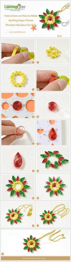 Instructions on How to Make Quilling Paper Flower Pendent Necklace for Kids