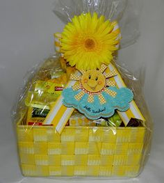 Hi Everyone! This is a Sunshine Basket. Everything in it is yellow to give as a gift to brighten someone's day. I'm giving one away similar to this one on my blog in 4/30/13 to one lucky person! :0)