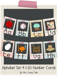 Add a vintage/Shabby Chic Flare to your classroom this year with this Alphabet and 1-20 Number Card Set. (Set includes print and cursive font alphabet cards.) Included: Print Font A-Z Alphabet Cards (Easy and Accurate Kindergarten and emergent/beginner reader and writer friendly font) 1-20 Number cards