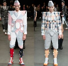 Thom Browne 2015 Spring Summer Mens Runway Looks Collection - Mode à Paris Fashion Week Mode Masculine France - Muscle Anatomy Musculature Outerwear Jacket Military Pants Trousers Necktie Cadet Cap Suit 3D Flowers Florals Embellishments Knit Butterflies Insects Motif Print Masks Boots Multi-Panel Stripes Plaid Checks Windowpane Rainwear Plastic Boxy Pointed Shoulders Colorblock Blazer Shorts Kilt Manskirt Angular Triangular Hem Vest Waistcoat Cropped Sleeves