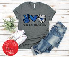 Police Officer Shirt/'Peace*Back the Blue' with Peace/Heart/Police Badge Designs Short Sleeve Shirt/Police Shirt Gift/Police Wife Shirt Correctional Officer Wife, Police Officer Wife, Police Flag, Police Shirts, Cheer Coach Shirts, Police Outfit, Leo Wife, Boxing T Shirts, Vinyl Shirts