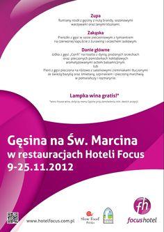Pierożki z gęsiną? rumiany rosół z dodatkiem brandy? a może mięso gęsi z dodatkiem dyni i orzechów?  Tego wszystkiego będzie można skosztować w restauracjach naszych hoteli Focus w Gdańsku, Szczecinie i Łodzi, które wezmą udział w święcie gęsiny!    więcej informacji na plakacie, oraz na naszej stronie: http://www.hotelfocus.com.pl/siec-hoteli-focus-promuje-polska-ges/