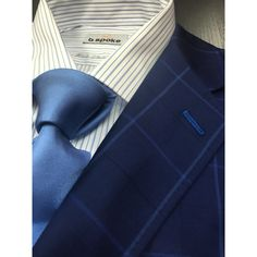 Navy windowpane suit made with Gladson fabric. Get yours at www.bspokestyle.com