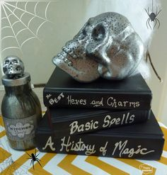 Maybe use chalkboard paint and chalk so you can change the titles, as needed...  ::DIY Spray Painted Books for Halloween at thehappyhousie