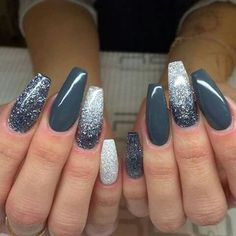 Nails gray glitter The post Nails gray glitter appeared first on nageldesign. promnails : Nails gray glitter The post Nails gray glitter appeared first on nageldesign. Gray Nails, Rose Gold Nails, Gradient Nails, Holographic Nails, Cute Acrylic Nails, Cute Nails, Pretty Nails, Stiletto Nails, Orange Nails