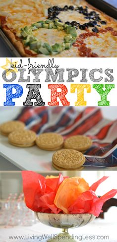 Are you ready for the Olympics? Don't miss these awesome ideas for a simple Olympics party, including super easy decorations and kid-friendly food such as Olympic ring pizza, Oreo medals, and torches made from Cheetos. Olympic Idea, Olympic Games, Olympic Medals, Kids Olympics, Winter Olympics, Kid Friendly Meals, Party Time, Party Party, Kids Meals