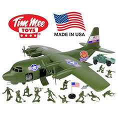 Air Support has arrived! The Tim Mee Hercules C-130 Gunship is once again proudly manufactured in the United States and available as this 27 piece set. Set includes the Hercules