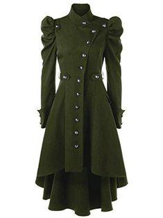 Padaleks Womens Casual Cardigan Vintage Steampunk Long Coat Gothic Overcoat Ladies Retro Jacket Outwear Oversize Best Winter Coats for Women USA Green Trench Coat, Long Trench Coat, Steampunk Jacket, Style Steampunk, Steampunk Clothing, Steampunk Necklace, Steampunk Fashion, Gothic Coat, Emo Outfits