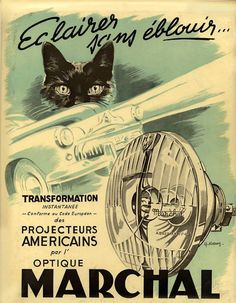 Philips Radio 1950 Black Cat and Fish Vintage Poster Print Fun Cat Advertising