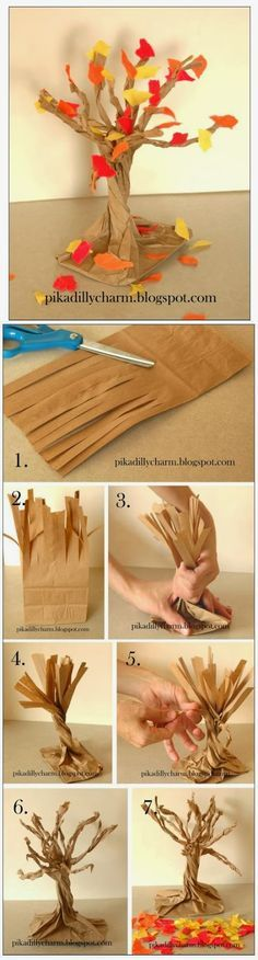 Make a Paper Bag Fall Tree That tree looks very beautiful and it's a real pleasure to make such one by hand. You just need a pi...