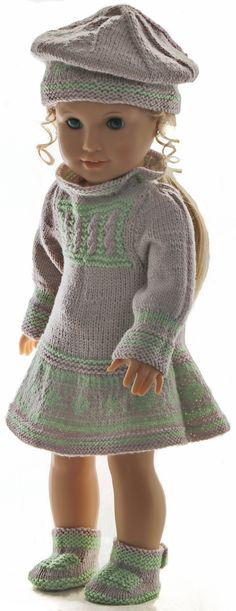 Knitting Patterns Girl knit dress knitting instructions – A beautiful ensemble with a great hat Knitted Doll Patterns, Knitted Dolls, Knitting Patterns, My Life Doll Clothes, Girl Dolls, Baby Dolls, Girls Knitted Dress, Knit Dress, American Doll Clothes