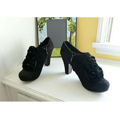 """Like New Chie Mihara Black Suede Booties These are so stunning, and I'm crestfallen they run a half size small, so while they're 8's (size 38; made in Spain), they fit a 7.5, so bear this in mind, so you're not disappointed. They've got glorious suede rosettes on the uppers, the heel height is 3.5"""" and they're immaculate. re-poshing solely for fit, and to recoup my payment minus my shipping. Thank you. Anthropologie Shoes Ankle Boots & Booties"""
