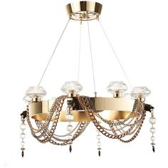 Il Paralume Marina Panther Art Deco Chandelier with Crystal ($12,880) ❤ liked on Polyvore featuring home, lighting, ceiling lights, gold, hanging chain lamps, crystal hanging lights, crystal chandelier, crystal chandelier light and crystal chandelier lighting