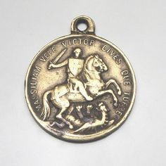 George silver medal pendant for rosary beads 2cm Catholic Saint gift St