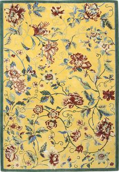 Highgrove - Yellow, hand-knotted pure wool carpet available at www.tigerrug.net