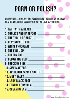 Porn or polish Hen Party Bachelorette Game
