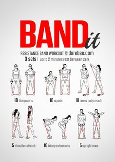 Resistance bands are likely the best inexpensive training tool you can get. Whether you are a beginner or already at an advanced fitness level, resistance band exercises can give your muscles a good challenge # thighs Fun Fitness, Sport Fitness, Fitness Motivation, Health Fitness, Fitness Band, Senior Fitness, Health Diet, Yoga Fitness, Toning Workouts