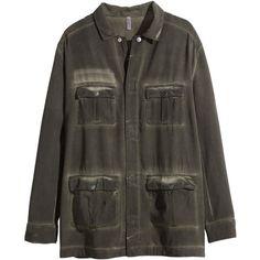 H&M Shirt jacket ($42) ❤ liked on Polyvore featuring outerwear, jackets, tops, coats, coats & jackets, khaki green, h&m jackets, straight jacket, woven jacket and flap jacket