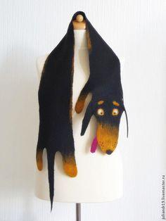 """Шарфы и шарфики ручной работы. Ярмарка Мастеров - ручная работа. Купить Детский шарф """"Такса"""". Handmade. Чёрный, собака"""