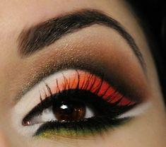 Bold orange makeup!