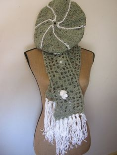 Spring Green Tweed Tam or Beret and Scarf White by JoysinStitches, $15.00