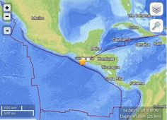 Strong 7.4-magnitude earthquake strikes Pacific coast of Guatemala.  The November 7, 2012 earthquake in Guatemala was felt as far away as Mexico City and El Salvador. No tsunami warning is in effect at this time.
