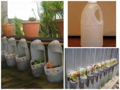 There is a two plastic bottle cut from the top after that color them with blue and red two stickers paste on front and beautiful diy plastic bottle planter is Plastic Bottle Planter, Plastic Jugs, Plastic Bottle Crafts, Recycle Plastic Bottles, Plastic Recycling, Plastic Containers, Bottle Garden, Diy Bottle, Outdoor Garden Decor