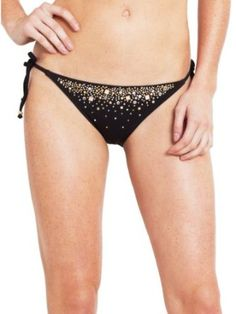 Guess – Set In Stones Tie Side Bikini Bottom Black