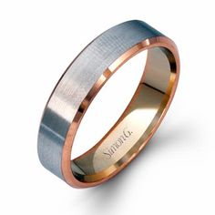 This stylish Simon G men's 14k white and rose gold wedding band ring is a size 10.5 and 5.5mm wide.
