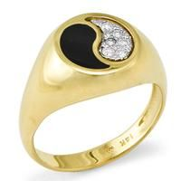 Black Coral Yin Yang Ring with Diamonds in 14K Yellow Gold - Small [015-05189] $1,695.00