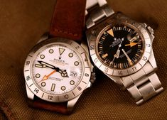 Rolex Explorer II Modern (l) & Vintage (r)
